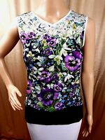 Ted Baker Top Purple Green Butterfly Floral Size 0 1 3 4 UK 6 8 12 14 RRP£59