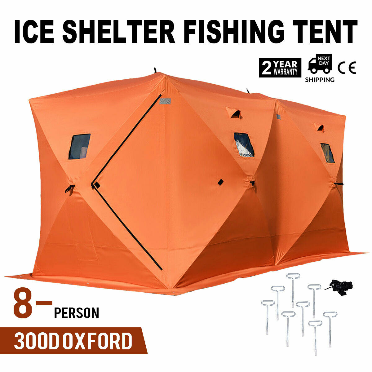 Popup 8person Ice Shelter pesca Tent Shanty Anchors Oxford Fabric Room