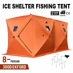 Pop-up 8-person Ice Shelter Fishing Tent Shanty Anchors Oxford Fabric Room