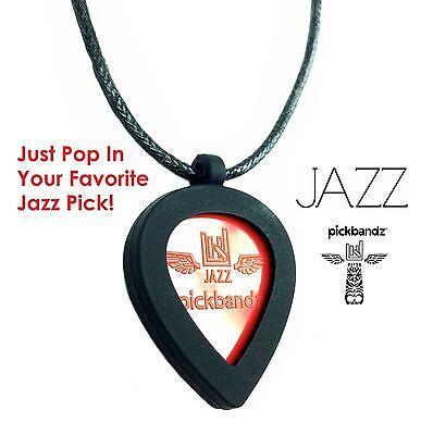 Just Pop In Your JAZZ Pick! GUITAR PICK Necklace by Pickbandz PICK HOLDER Black