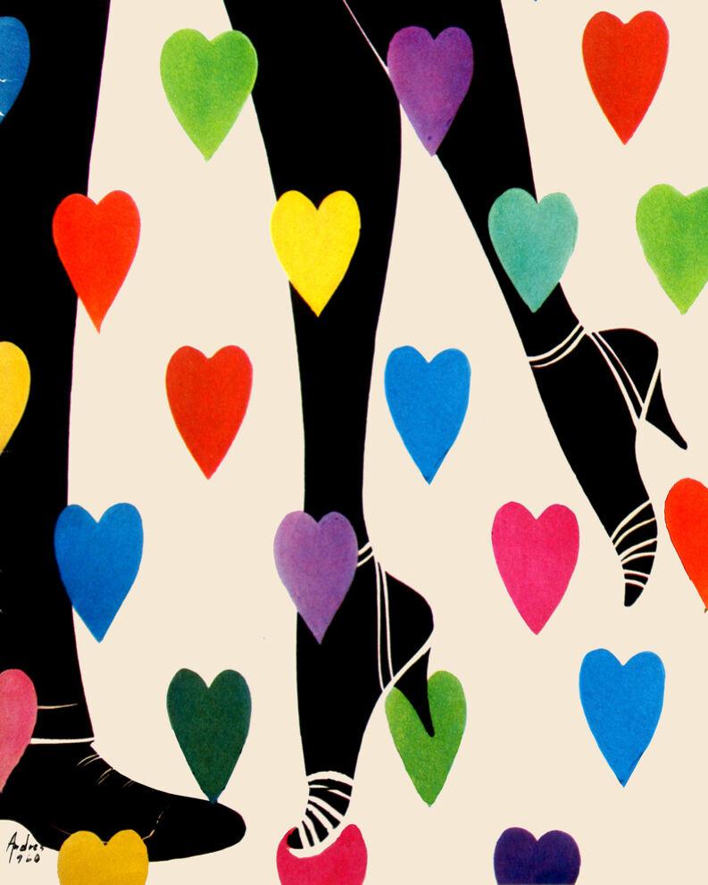 1658 Coloreeful hearts Vintage POSTER. Couple legs Decorative Art.Home Decor