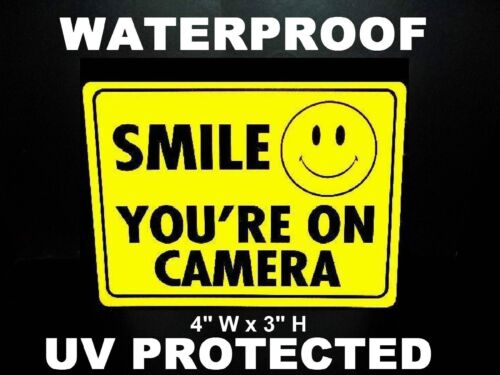 36 SMILE SECURITY VIDEO CAMERAS IN USE WARNING STICKERS FOR WINDOWS LOT