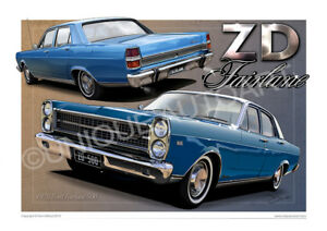 Details About Zd Fairlane Print Available In 46 Colour Combinations Ford Fairlane Drawing