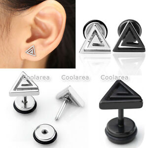 Pair-Steel-Swirl-Triangle-Barbell-Bars-Ear-Stud-Cartilage-Helix-Earring-Piercing