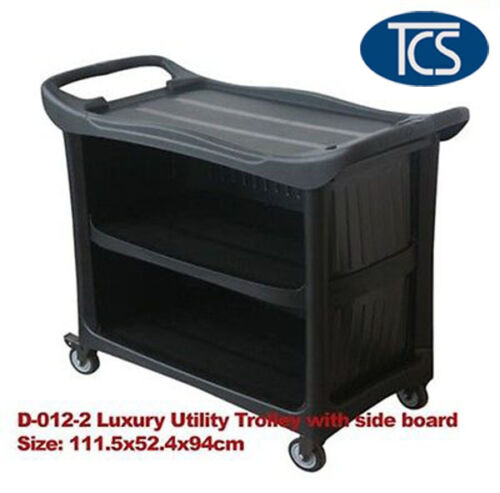 TCS Luxury Compact 3 Shelf Utility Trolley Cart Kitchen Restaurant Catering