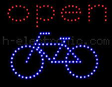 LED Reklame Fahrrad Open Blinken Beleuchten Schild neon WOW