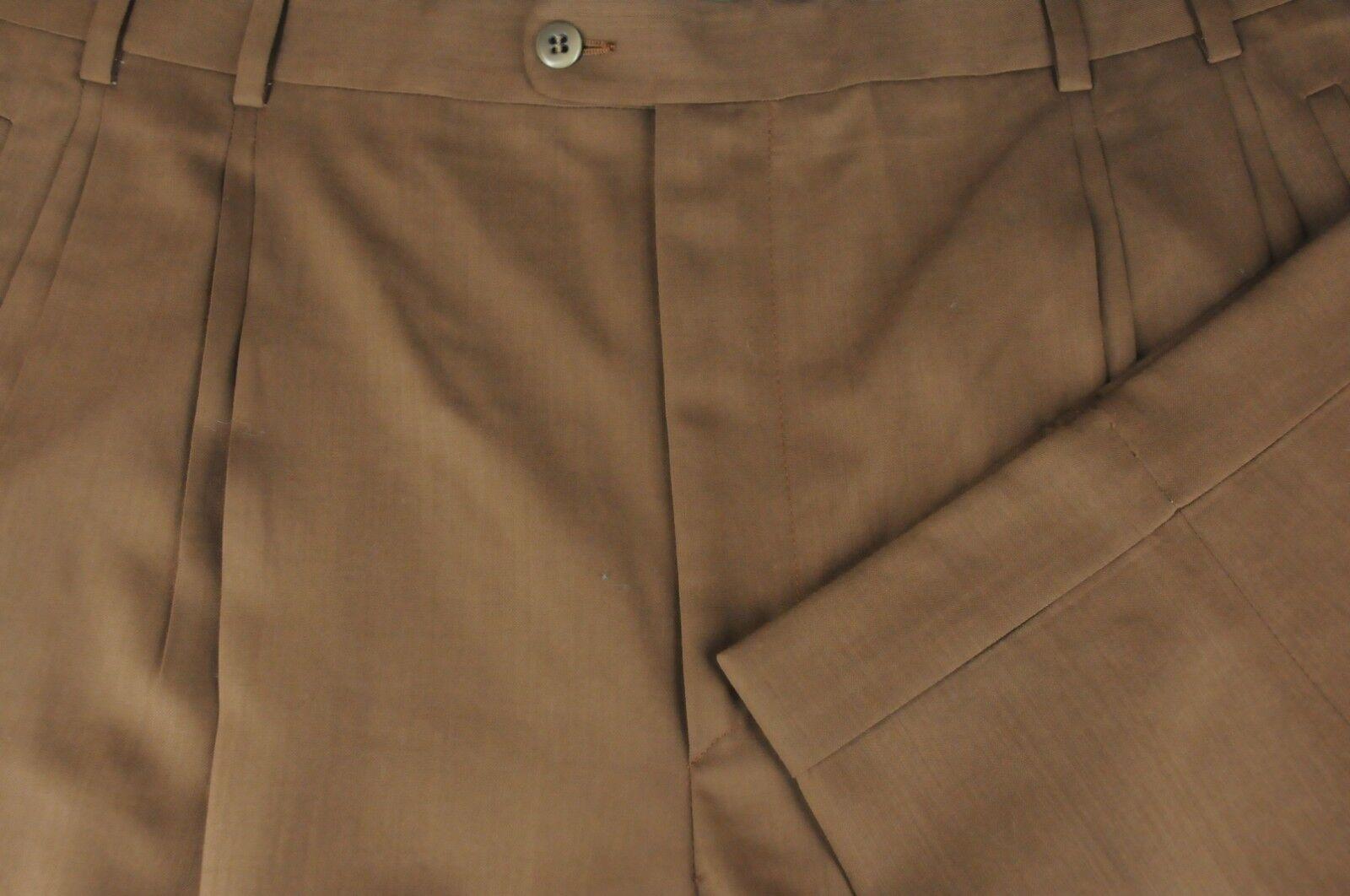 Zanella Jesse Men's True Brown Luxury Wool Pleated Dress Pants 40 x 28