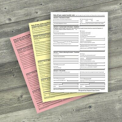 10 x A5 3 PART PRINTED DUTY OF CARE WASTE TRANSFER NOTE PADS PERSONALISED