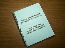 1950-1965 Mopar Parts Interchange Manual Book Dodge Chrysler Plymouth Imperial