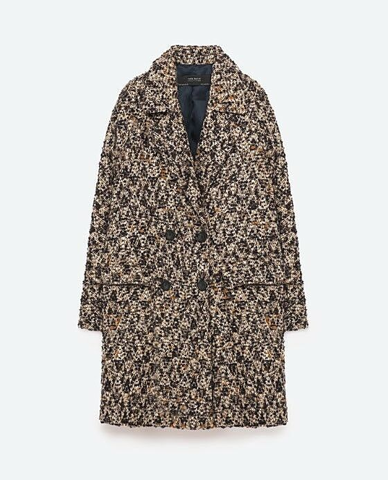 ZARA OVERSIZED BOUCLE WOOL DOUBLE BREASTED COAT OVERSIZE WOLLE MANTEL SIZE S M L