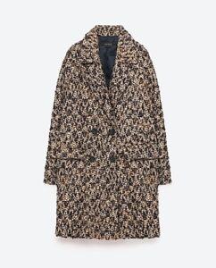 Dettagli su Zara Oversize Lana Cappotto di Giacca Boucle Wool Coat Taglia M L.
