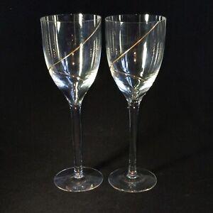 2-Two-VTG-KOSTA-BODA-LINE-GOLD-Crystal-Claret-Glasses-w-24K-Trim-DISCONTINUED