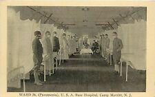 1910s Postcard; Pneumonia Ward USA Military Base Hospital Camp Merritt NJ Bergen