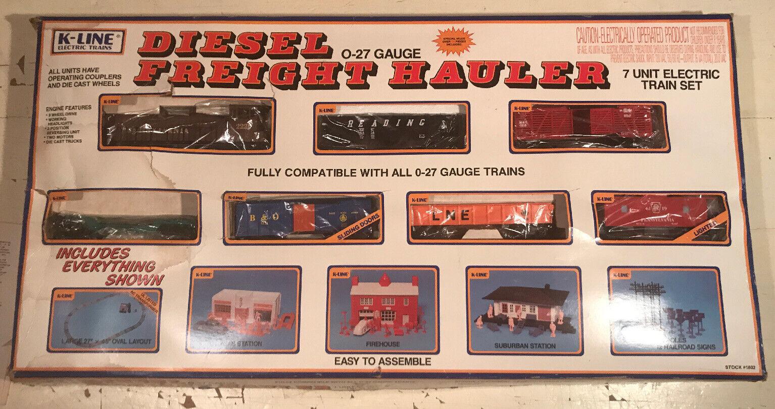 K-Line 027 Gauge  1802 Diesel Freight Hauler Train Set W Buildings Preowned 1987