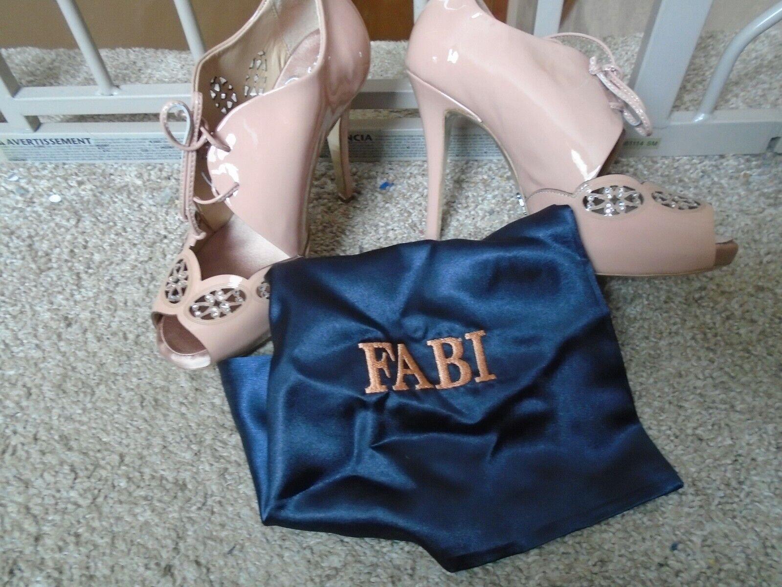 Nouveau FABI FABI FABI bout ouvert chair En Cuir Rose Strass Détail démarrageie, Taille 6 italien 91ae64