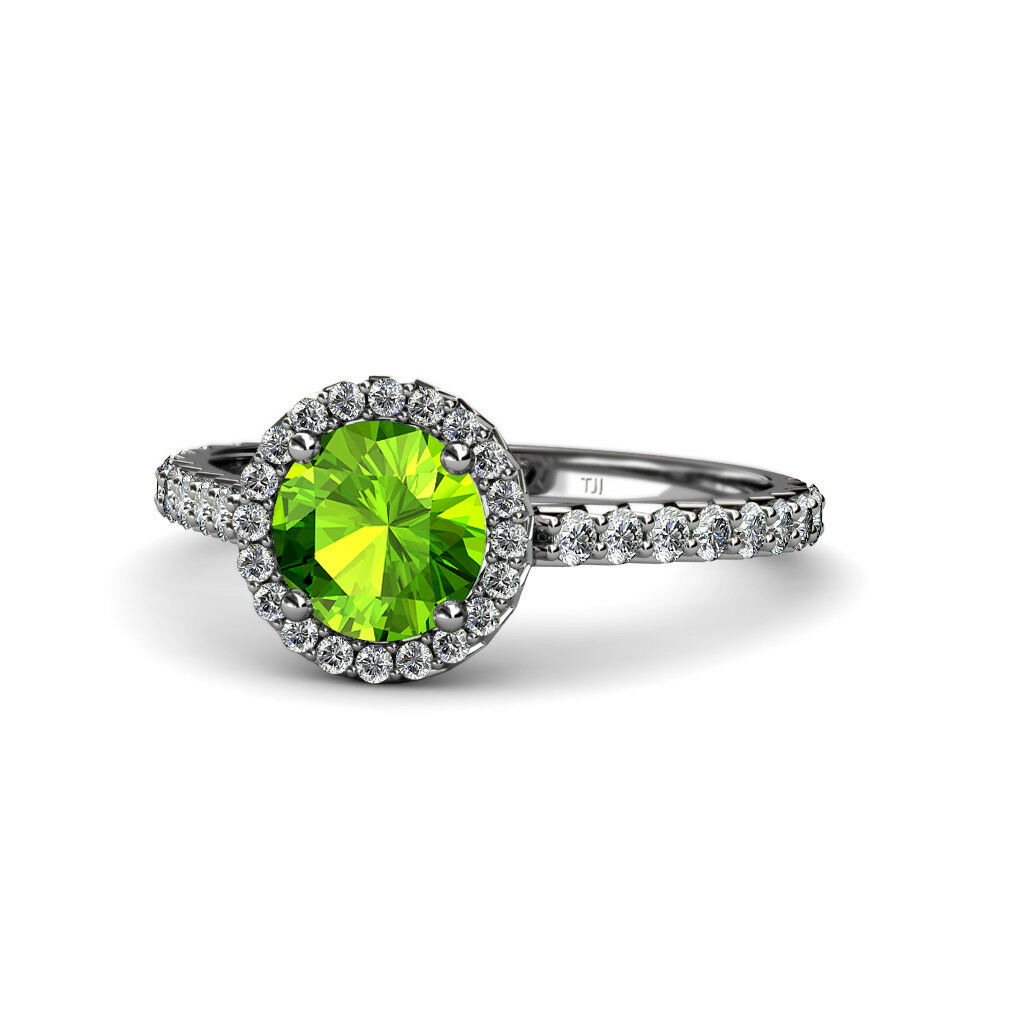 Peridot and Diamond Halo Engagement Ring 1.48 Carat tw in 14K gold JP 55668