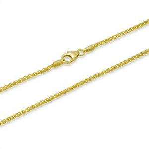 2mm-18K-Gold-Plated-Sterling-Silver-925-Italian-SPIGA-WHEAT-Link-Chain-Necklace