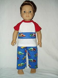 Race-Car-Pajamas-doll-clothes-fits-American-Girl-Boy-dolls