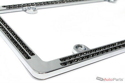 Chrome Black Diamond Bling Custom Metal License Plate Frame for Auto-Car-Truck