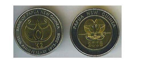 PAPUA NEW GUINEA 2008 UNCIRCULATED 2 KINA BIMETAL