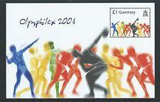 GUERNSEY 2004 ATENE GIOCHI OLIMPICI SENZA CORNICE COME NUOVO, NUOVO LINGUELLA