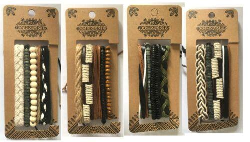 Men's Bracelet Set Leather-Natural assorted designs