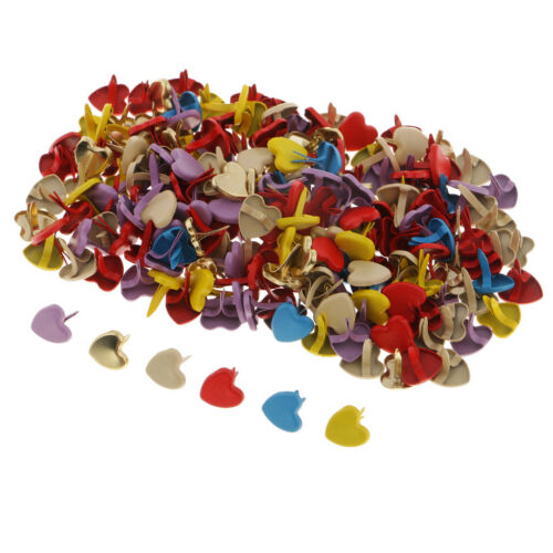 200x Heart Head Metal Paper Fastener Decorative Brad for Kids Craft Colorful