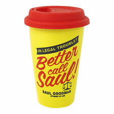 BETTER CALL SAUL LOGO TRAVEL MUG SILICON LID CERAMIC CUP COFFEE TEA BREAKING BAD