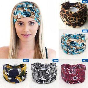 Women-Wide-Cotton-Stretch-Headband-Turban-Sports-Knotted-Hairband-Wrap