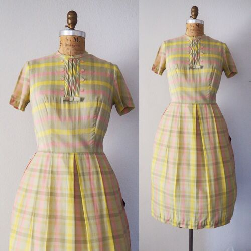NOS Deadstock 1960's Plaid Vintage Dress Coquette