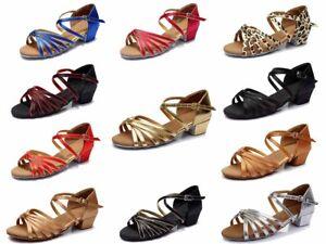 Women/'s Children Latin Dance Shoes Heeled Ballroom Party Tango shoes 17-25CM
