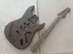 Zebra-wood-electric-guitar-body-and-neck-Excellent-parts
