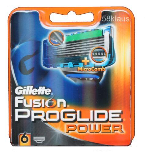 6 Gillette Fusion Proglide Power Rasierklingen NEU /& OVP Gillete Klingen