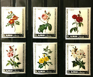 Roses Flowers mnh 6 stamps 1969 Ajman Michel #405-10