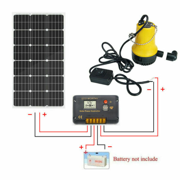 120L//min Capacity RealPlus 12V//135W Submersible Well Pump Solar Water Pump