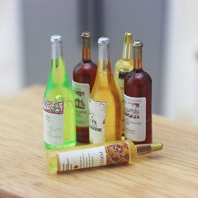 6 x Drinks BOTTLE Candy Juice Champagne Wine Bottles Dollhouse Miniature 1:12