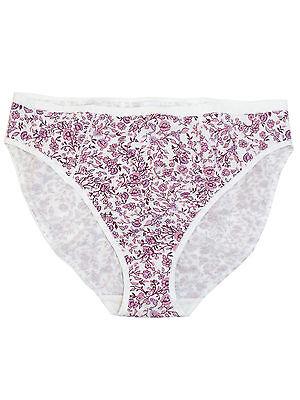 Ex Store ladies Dark Violet Floral Lace Waist Modal High Leg Knickers Briefs