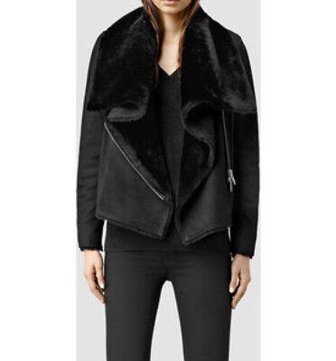 All Saints Sheepskin Winter Jacket Size 4 Uk Rrp £698