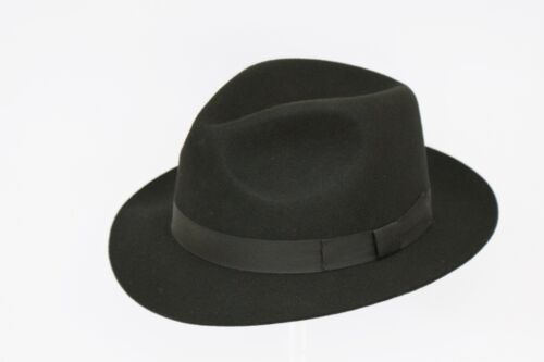 BLACK Gents 100/% Wool Hand Made Felt Fedora Trilby Hat With Matching Band