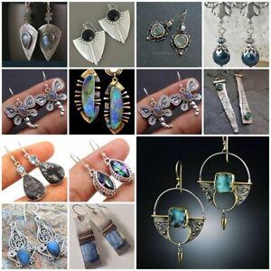 Vintage-925-Silver-Moonstone-Turquoise-Ear-Hook-Stud-Dangle-Drop-Women-Earrings