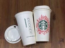 (2) Starbucks Reusable Plastic Grande Barista Cup Tumbler Christmas Wreath 16 Oz