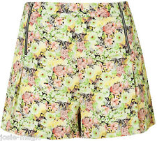 Topshop multi coord peony Zip front Floral summer shorts 8 36 Green/Pink/Black