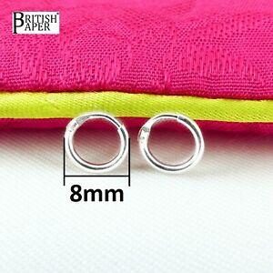8mm-Small-Solid-925-Sterling-Silver-Hoop-Sleeper-Earrings-Nose-Ring-On-Stud-Clip