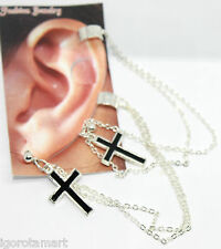 New Unisex Pair Fashion Silver Dark Black Cross Gothic Clips Earrings UK Post