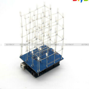 4X4X4 3D Light Cube Kit Blue Arduino Shield LED Precise DIY Kit D