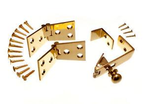 Paar-Von-Messing-Zaehler-Klappe-Scharniere-1-1-10-2cm-X-10-2cm-Fang-amp-Schrauben