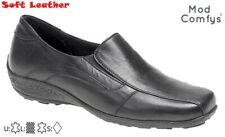 Ladies Mod Comfys L225 Black Soft Leather Ballerina Shoes