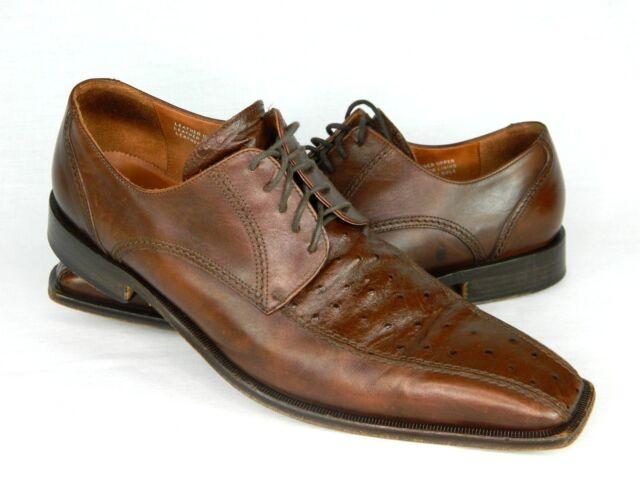 Cactoberia Gaseaua Mens 47 Sz 13 Brown Leather Lace Up Square Toe Dress Shoes