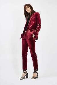 TOPSHOP-Burgundy-Velvet-Suit-Jacket-SIZE-UK6-8-10-12-14-16