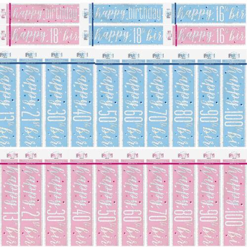 environ 2.74 m 2.7 M Paillettes Holographique Feuille Anniversaire Bannière Rose Clair Bleu Décoration Âges 9 ft